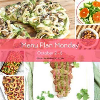 Menu Plan Monday week of October 2, 2017 including Mushroom Onion Pizza, Citrus Fennel Salad, Miso-Roasted Root Vegetables, Cilantro Lime Steak, and Maple-Roasted Delicata Squash Quinoa Salad @jlevinsonrd.