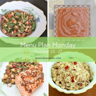 Menu Plan Monday week of October23, 2017 including Peanut Soba Noodles with Crispy Baked Tofu and Vegetables, Homemade Cinnamon Applesauce, Orange Maple Salmon, and Apple Tuna Salad.