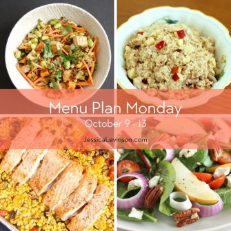 Menu Plan Monday week of October 9, 2017 including Asian-Style Farro Buddha Bowl with Crispy Baked Tofu, Apple Tuna Salad, Mediterranean Sheet Pan Salmon, and Spinach Pear Salad with Goat Cheese @jlevinsonrd.