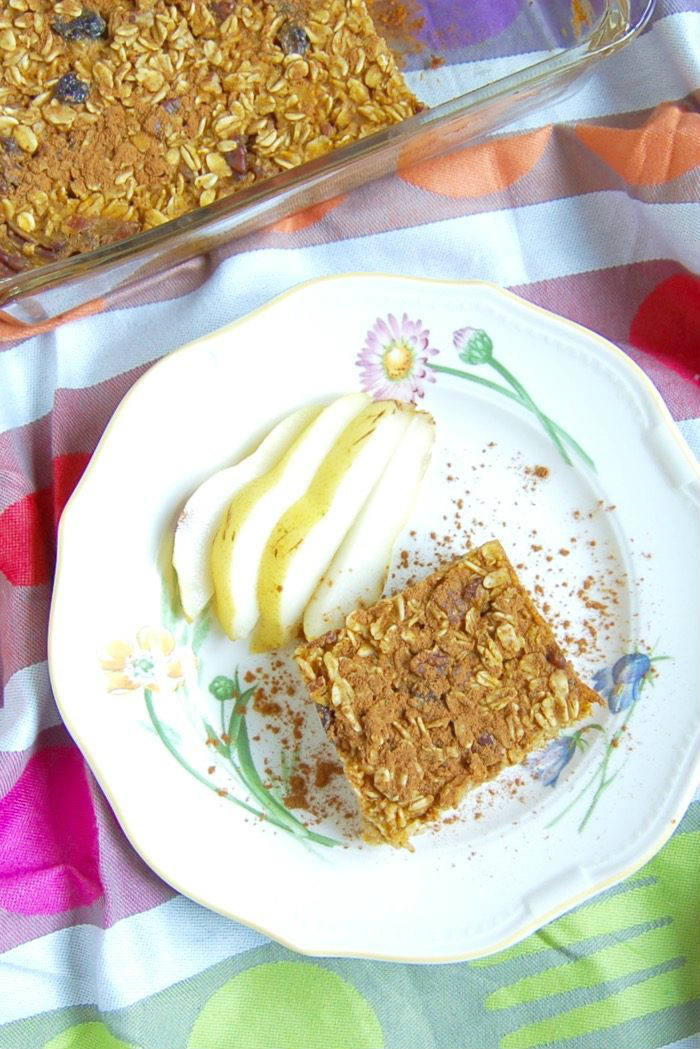 Pumpkin Spice Baked Oatmeal on Plate
