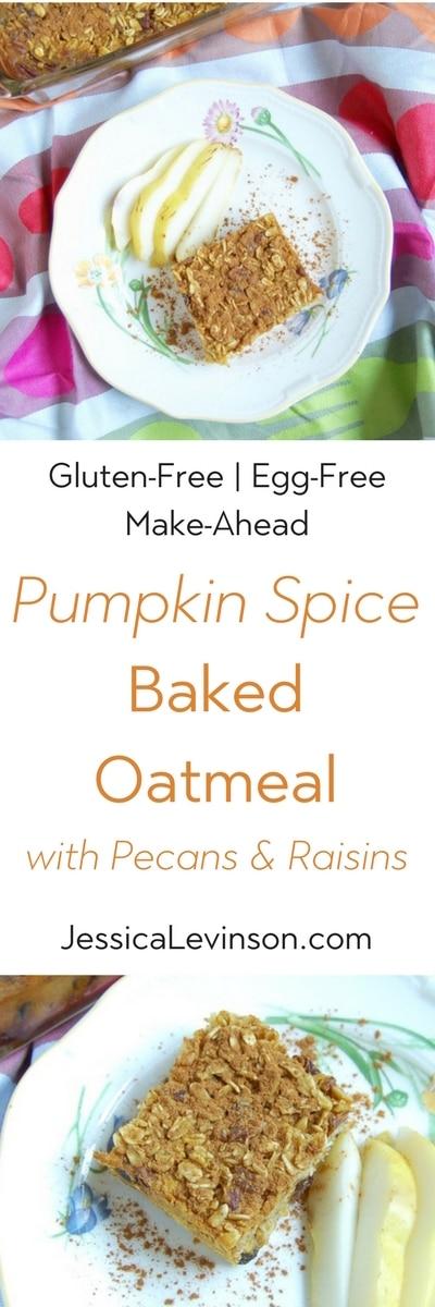 pumpkin spice baked oatmeal is a terrific make-ahead breakfast filled with seasonal fall flavors.