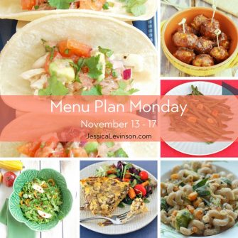 Menu Plan Monday week of November 13, 2017 including Fish Tacos with Citrus Salsa, Turkey Meatballs with Curried Cranberry Sauce, Garlicky Green Beans, pasta with roasted vegetables and lemon-sage ricotta, Mushroom Leek Fritatta, Roasted Delicata Squash Apple Salad.