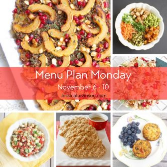 Menu Plan Monday week of November 6, 2017 including Maple-Roasted Delicata Squash Quinoa Salad, Asian-Style Farro Buddha Bowl with Crispy Baked Tofu, Roasted Butternut Squash and Cranberry Quinoa Salad, Easy Veggie Egg Muffins, Baked Panko Crusted Chicken, and Lentil Veggie Salad with Feta.