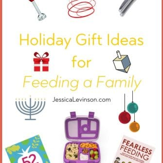 Need a last minute holiday gift? Here are some of my favorite holiday gift ideas for feeding a family, including books, kitchen tools, and more. via JessicaLevinson.com | #giftideas #holidays #holidaygifts