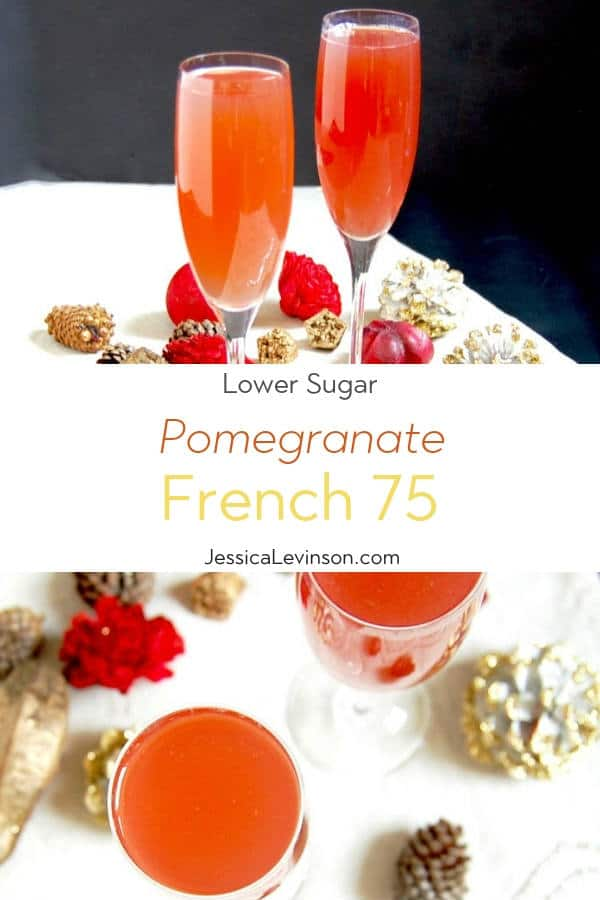 Pomegranate French 75 Cocktail with Text Overlay