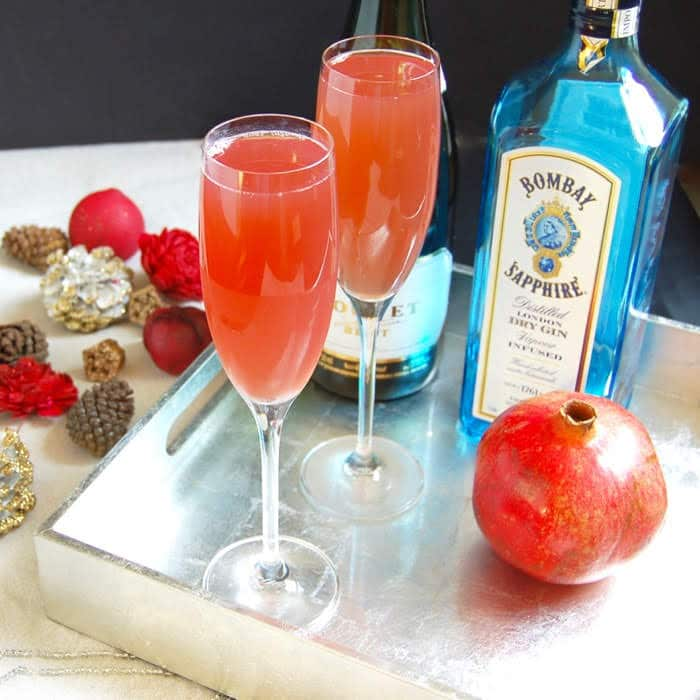 Pomegranate French 75 Cocktail with Bombay