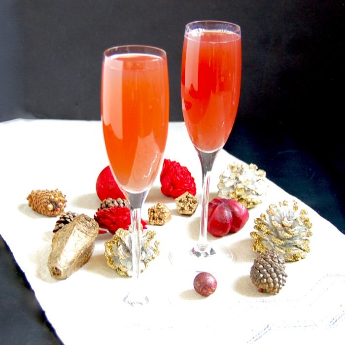 Celebrate the holiday season and ring in the New Year with a bright and festive Pomegranate French 75 cocktail with less added sugar.
