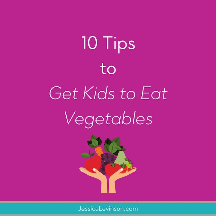 Tired of mealtime battles about veggie intake? Spend more time enjoying family meals by implementing these 10 tips to get kids to eat vegetables.