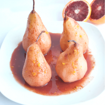 Blood Orange Poached Pears are made with only five simple ingredients, and no added sweeteners. A simple and elegant dessert for any occasion! #vegan #glutenfree #noaddedsugar