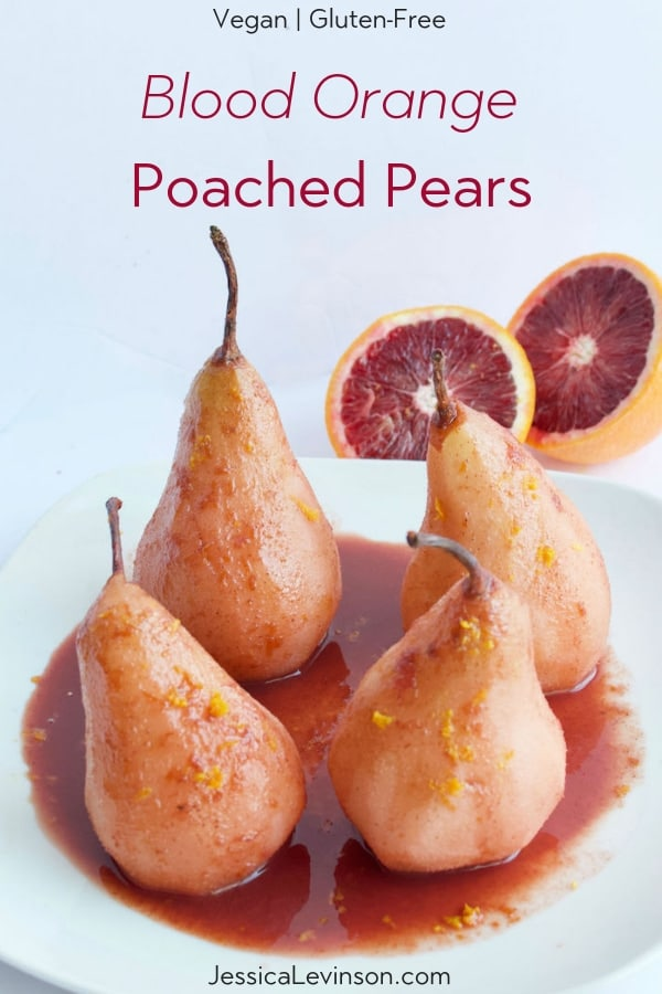 Blood orange poached pears recipe pin