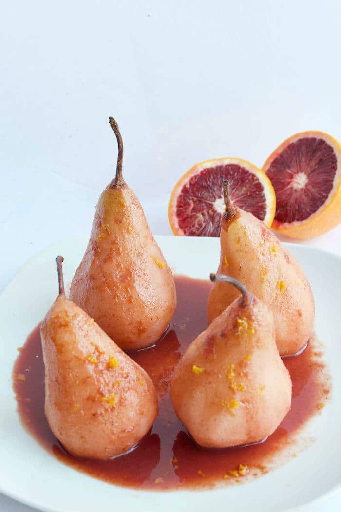 Blood Orange Poached Pears on Plate