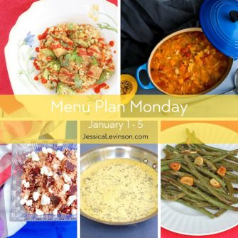 Menu Plan Monday week of January 1, 2018, including Veggie Cauliflower Fried Rice with Crispy Baked Tofu, Minestrone Soup, Farinata, Beet & Goat Cheese Quinoa Salad, Brussels Sprouts with Pomegranate Glaze, and Roasted Garlicky Green Beans.