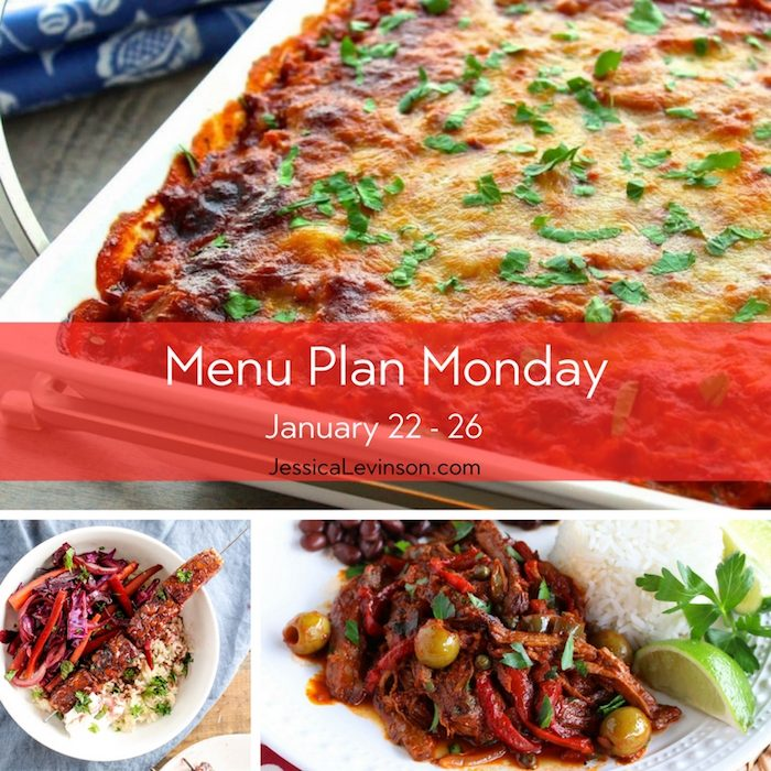 Menu Plan Monday week of January 22, 2018, including Spaghetti Squash Lasagna, Pomegranate-Glazed Tofu Bowls, and Ropa Vieja.
