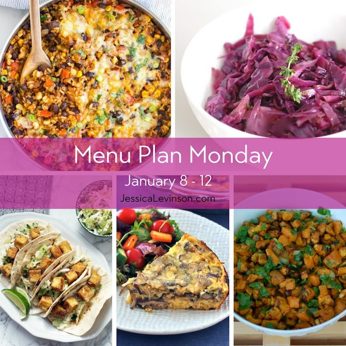 Menu Plan Monday week of January 8, 2018, including One Skillet Mexican Rice Casserole, Braised Cabbage and Apples, Crispy Tofu Tacos with Asian Pear Slaw, Baked Mushroom Leek Frittata, and Sweet Potato Salad.