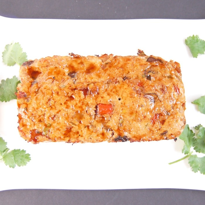 Asian style turkey meatloaf on platter