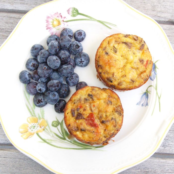 make-ahead muffins packed with whole grains, fruit, veggies, and eggs are one of many healthy breakfasts to get out the door in the morning