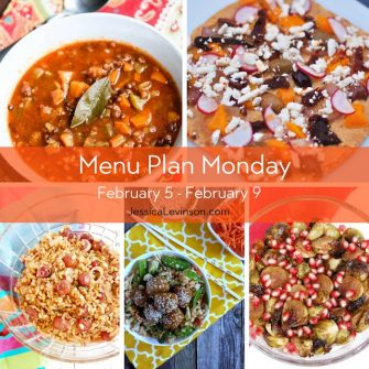 Menu Plan Monday week of February 5, 2018, including Greek lentil soup, Mediterranean hummus flatbread, roasted grape farro salad, Asian meatballs with veggie fried rice, and roasted Brussels sprouts with pomegranate glaze.