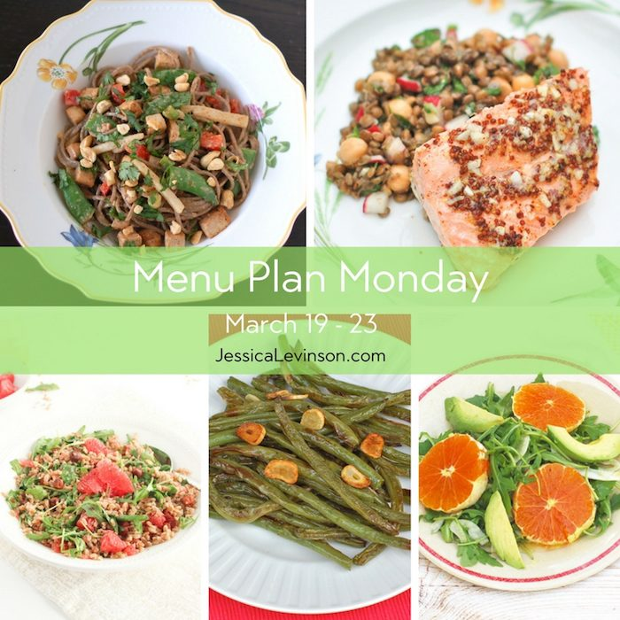 Menu Plan Monday week of March 19, 2018, including peanut soba noodles with crispy baked tofu and vegetables, orange maple salmon, grapefruit farro salad, garlicky green beans, and citrus fennel salad. Get the full menu plan at JessicaLevinson.com.