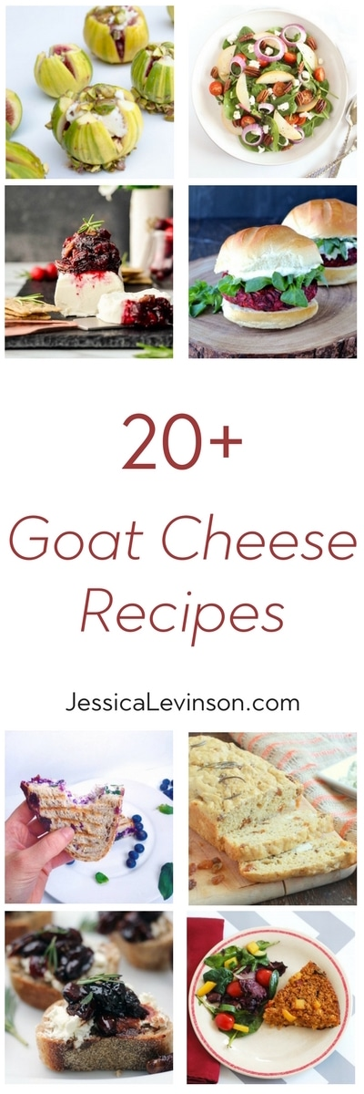 Are you a goat cheese lover? Then you will love this roundup of 20+ goat cheese recipes including salads, sandwiches, main dishes, and everything in between! Get the roundup at JessicaLevinson.com #recipes #goatcheese #cheese #reciperoundup #dairy