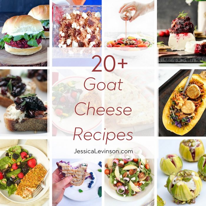 Are you a goat cheese lover? Then you will love this roundup of 20+ goat cheese recipes including salads, sandwiches, main dishes, and everything in between! Get the roundup at JessicaLevinson.com.