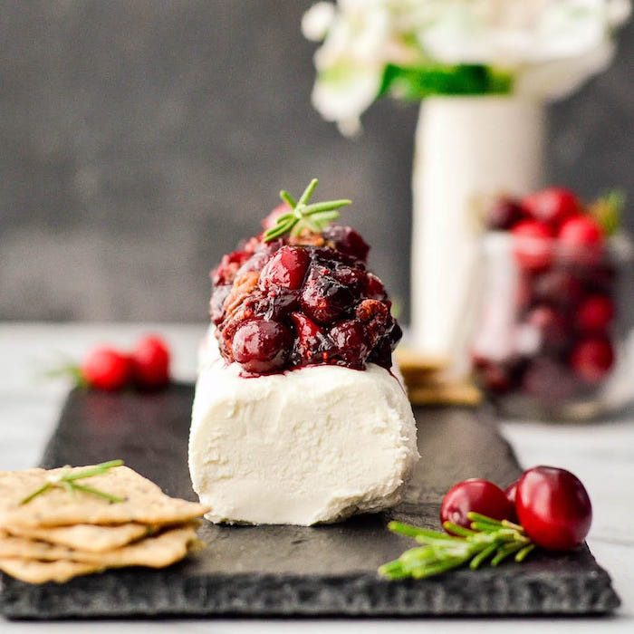 Balsamic, Maple & Cranberry Goat Cheese Appetizer with Cinnamon Toasted Pecans @ Joy Food Sunshine