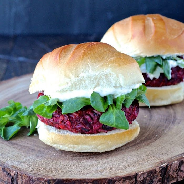 Smoky Beet Burgers with Goat Cheese Yogurt Spread @ The Foodie Physician