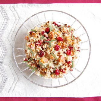 Add a burst of color and flavor to the holiday table with this nutritious and delicious Roasted Butternut Squash and Cranberry Quinoa Salad. Get the vegan and gluten-free recipe at JessicaLevinson.com