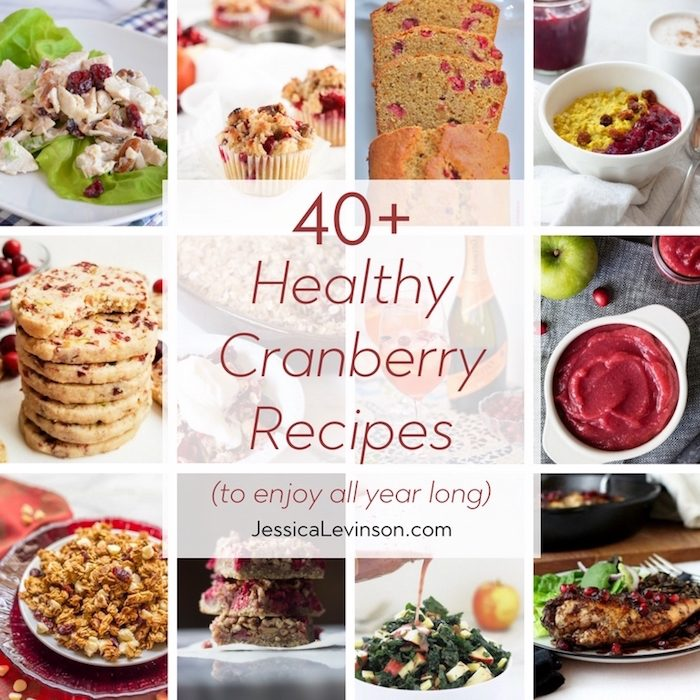 Whether fresh, frozen, canned, or dried, cranberries are a year-round superfood. Add these 40+ healthy cranberry recipes to your meal plan soon! via JessicaLevinson.com