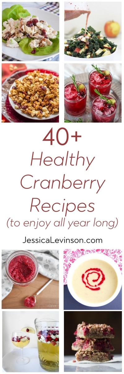 Whether fresh, frozen, canned, or dried, cranberries are a year-round superfood. Add these 40+ healthy cranberry recipes to your meal plan soon! via JessicaLevinson.com | #cranberries #cranberryrecipes #reciperoundup #healthyrecipes #lovecranberries