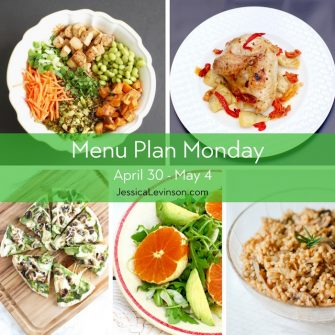 Menu Plan Monday week of April 30, 2018, including Asian Style Farro Buddha Bowl with Crispy Baked Tofu, Roasted Chicken with Peppers, Artichokes, and Sun-Dried Tomatoes, Mushroom Onion Pesto Pizza, Citrus Fennel Salad, and Mushroom Onion Barley. Get the full menu plan at JessicaLevinson.com.