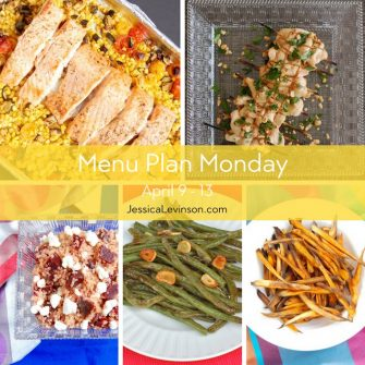 Menu Plan Monday week of April 9, 2018, including Mediterranean Sheet Pan Salmon, Thai Chicken Satay, Beet and Goat Cheese Quinoa Salad, Garlicky Green Beans, and Crispy Baked Sweet Potato Fries. Get the full menu plan at JessicaLevinson.com.
