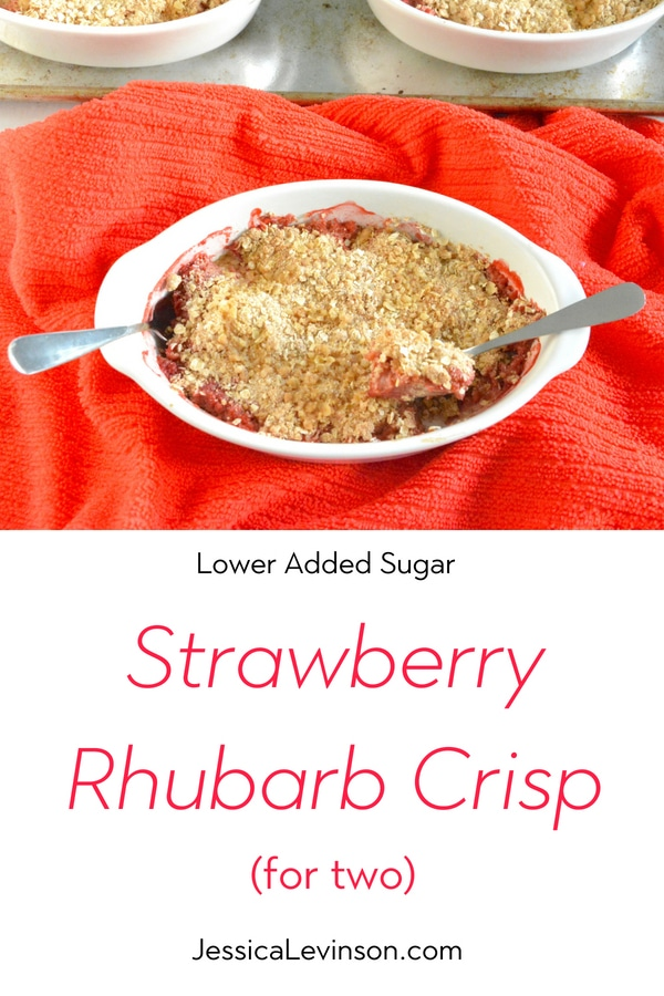 Get tips for managing added sugar this summer and enjoy a lower-sugar version of one of summer's quintessential desserts, Strawberry Rhubarb Crisp (AD). Recipe via JessicaLevinson.com | #addedsugar #lowsugardessert #strawberry #rhubarb #summerdessert #splendanaturals