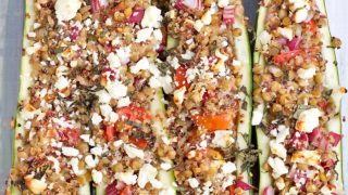 Vegetarian Greek Lentil Stuffed Zucchini Boats