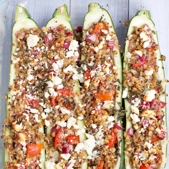These Vegetarian Greek Lentil Stuffed Zucchini Boats are perfect for meatless Monday in the summer.