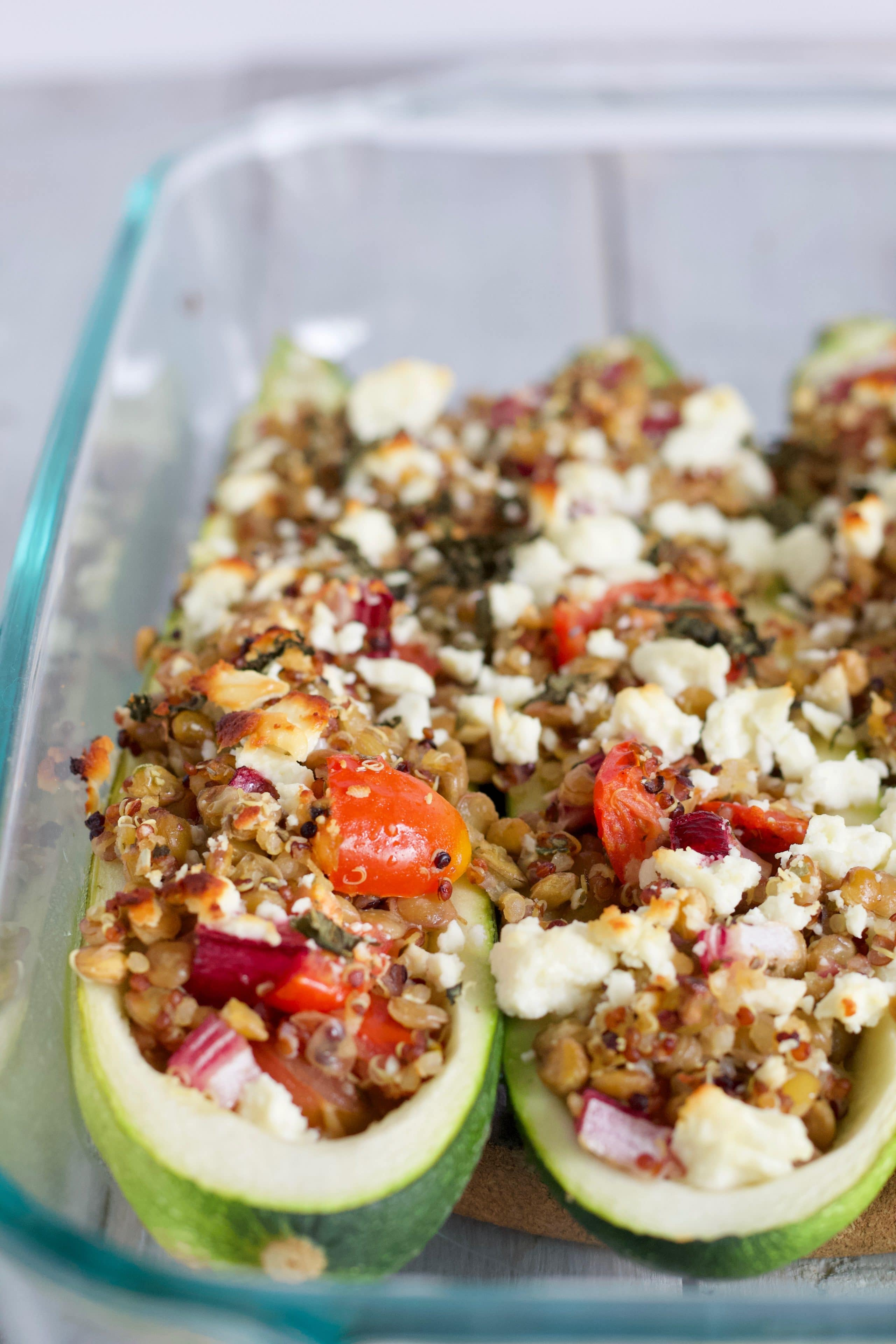 Lentil Stuffed Zucchini is a delicious vegetarian meal using summer produce.