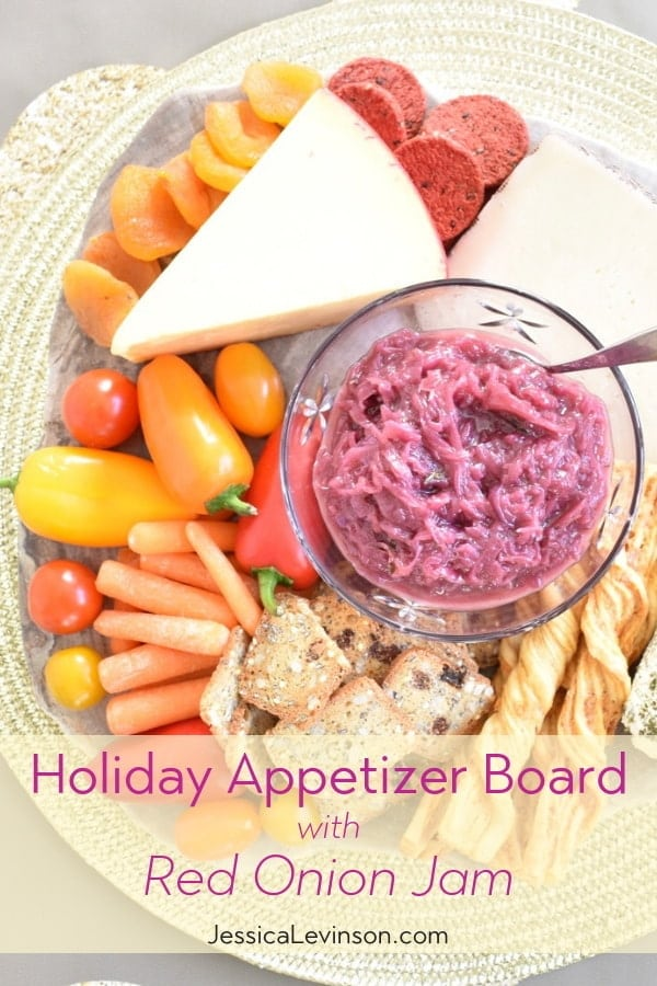 Kick off your holiday gatherings on a delicious foot by serving a beautiful appetizer board including cheeses, veggies, crackers, and a reduced added sugar red onion jam made with SPLENDA Naturals Stevia Sweetener, Granulated (AD). Get the recipe at JessicaLevinson.com | #Holidayrecipes #appetizerrecipes #appetizerboards
