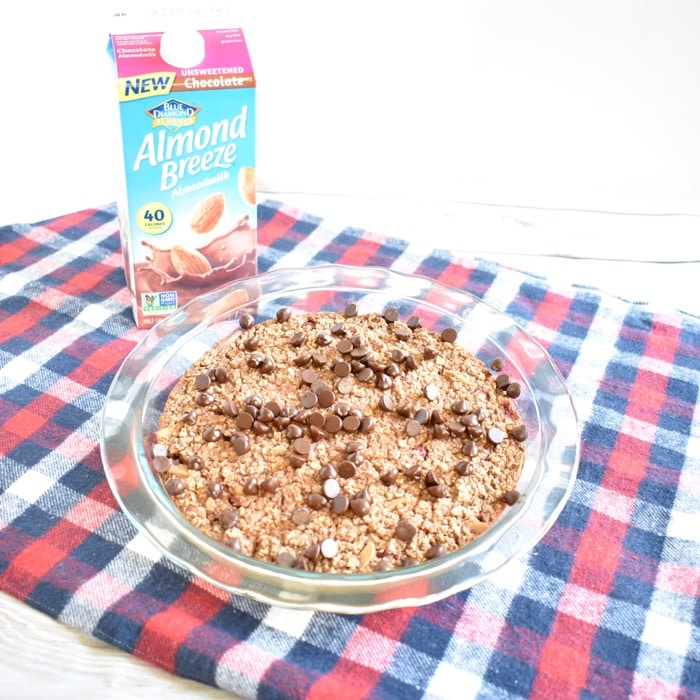 Chocolate baked oatmeal with berries and Almond Breeze almondmilk