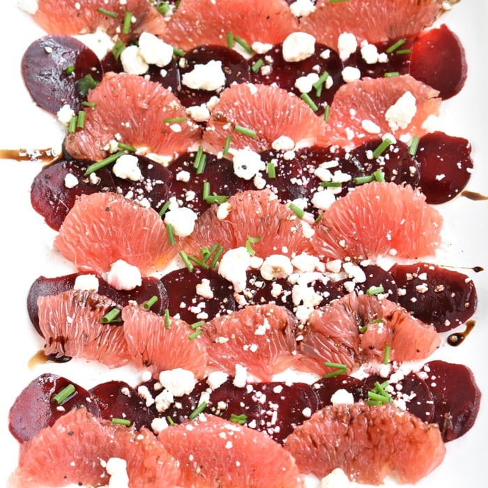 close up of beet & grapefruit carpaccio