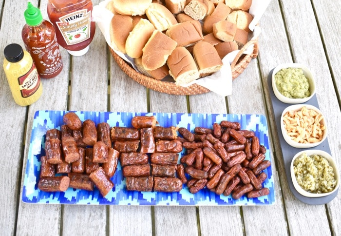 overhead shot of hot dog slider bar for summer barbecue