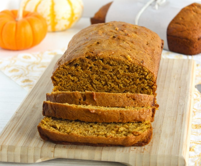 sliced loaf dairy free pumpkin bread