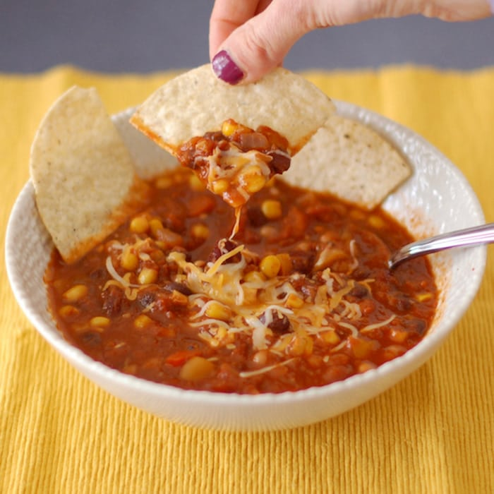Three-Bean Vegetarian Chili is an easy healthy one pot meal