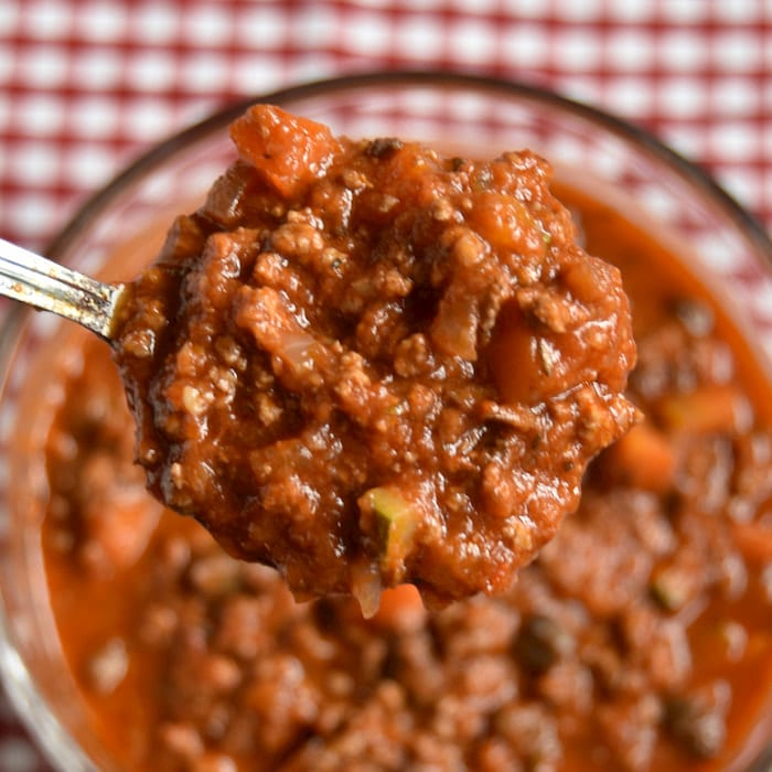 close up of beef bolognese sauce
