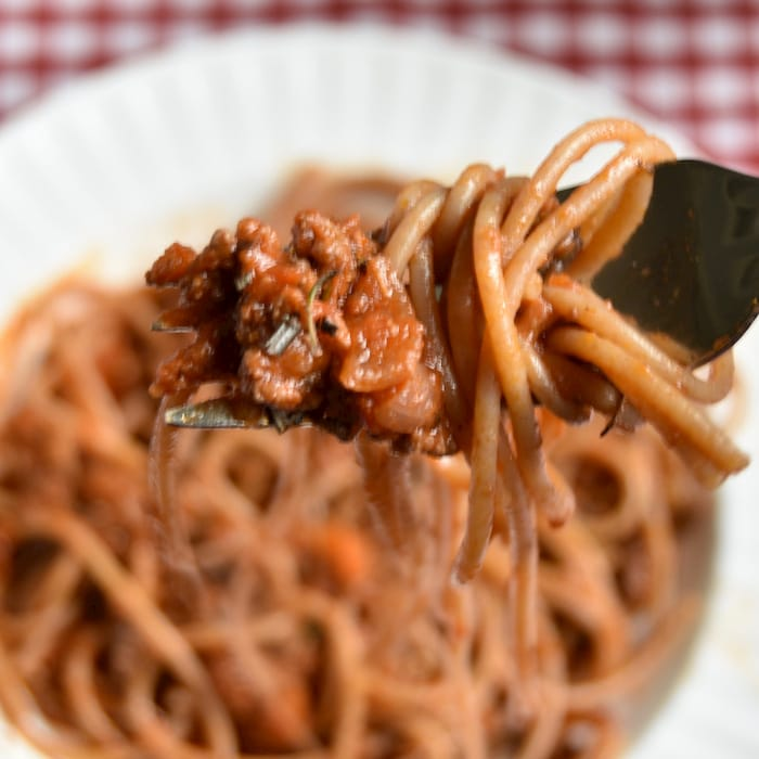 Close up of spaghetti bolognese