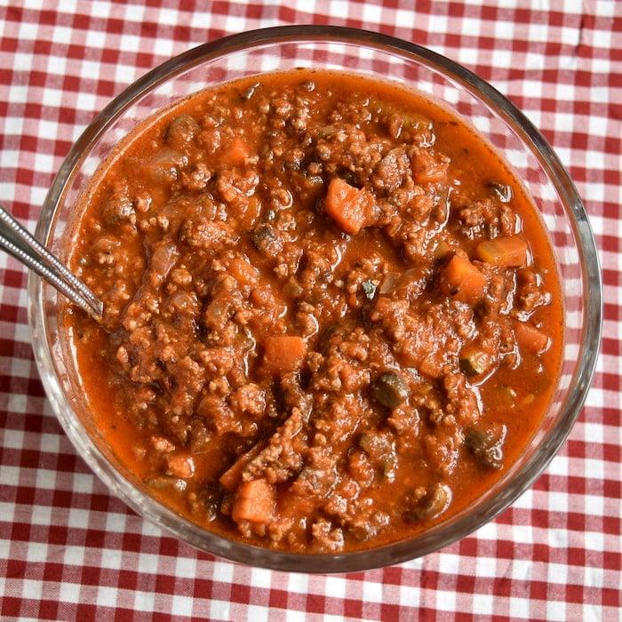 Serving bowl of veggie beef bolognese
