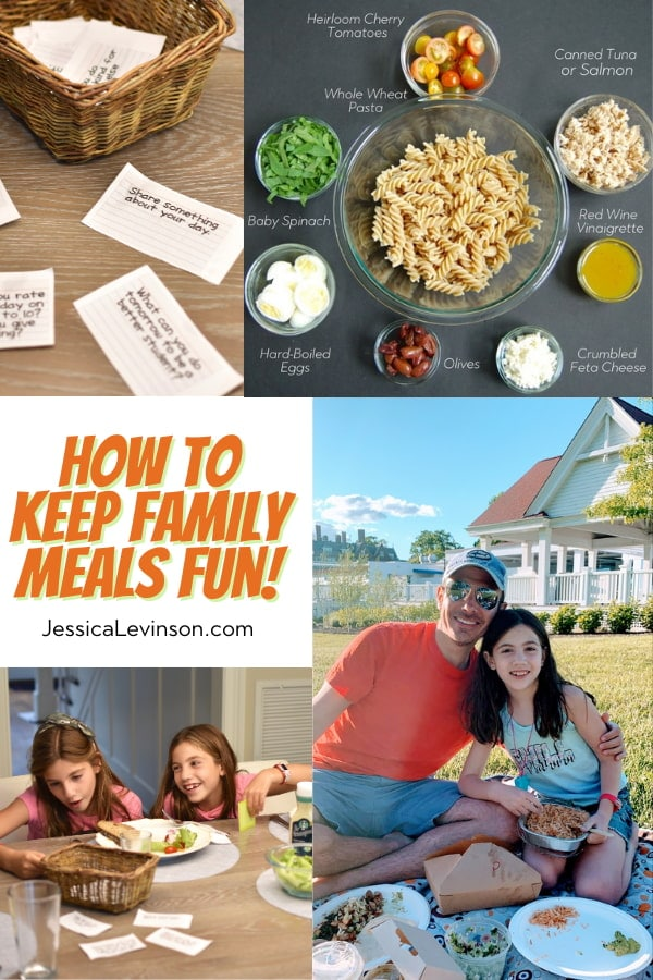 collage of pictures showing how to keep family dinner fun