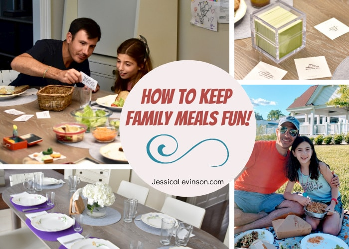 collage of family meals, conversation starter cards, kids eating with parents
