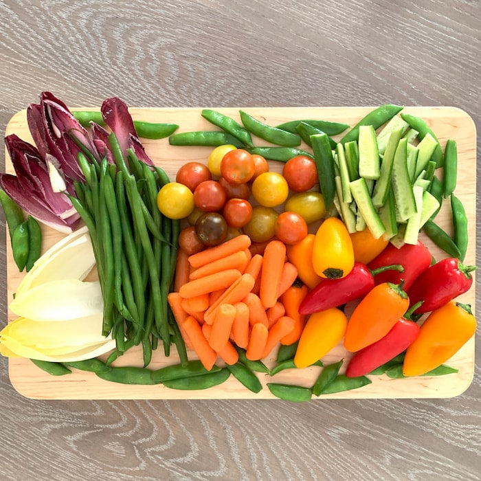wood graze board with mixed vegetables