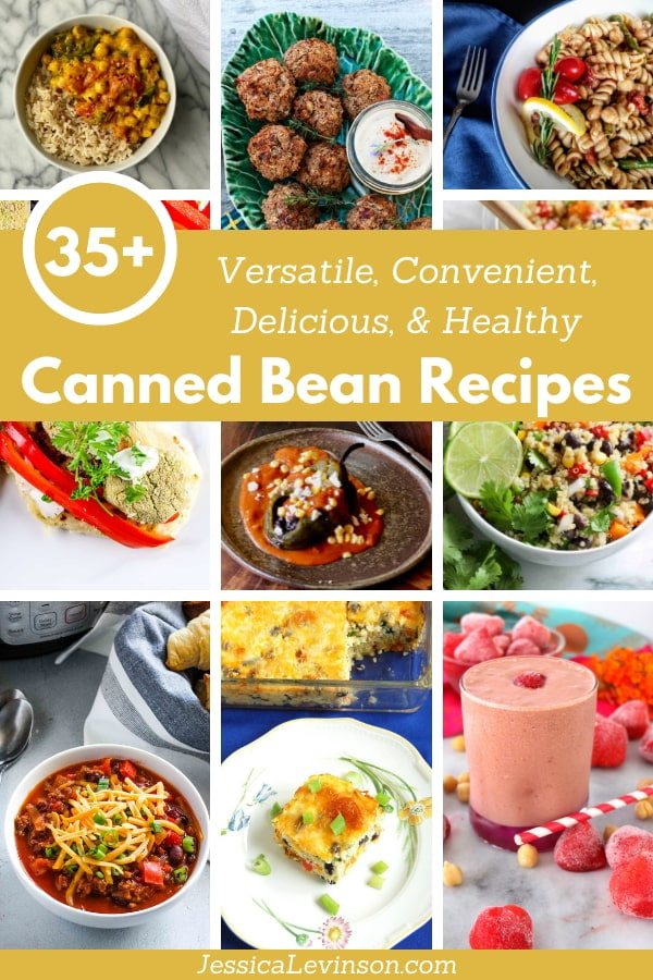 collage of canned bean recipes